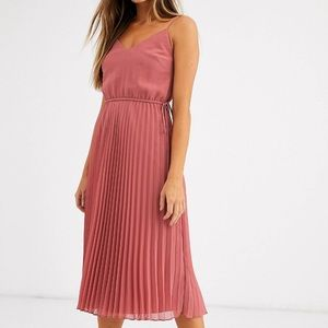 ASOS pleated cami midi dress